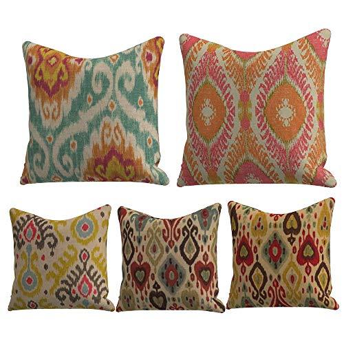 WAZA - Juego de 5 fundas de cojines sencillas y clásicas de 45 x 45 cm, ideales para casa, oficina o para la espalda en el coche - Fundas de franela para sofá con diseños creativos