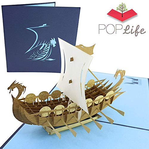 PopLife Norse Viking Ship 3D Pop Up Card for All Occasions - Happy Anniversary Pop Up Father's Day Card, Pop Up Birthday Card for Men, Retirement Card - for Dad, for Husband, for Son, for Grandpa