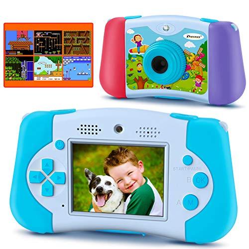 PROGRACE Kinderkamera Handheld-Konsolenspiel für 4-12 Jahre alte Jungen Mädchen Spielzeug Geschenke Kinder Kamera für Kinder Unterstützung Download 4000+ Spiele MP3-Player Kindervideokamera 12M