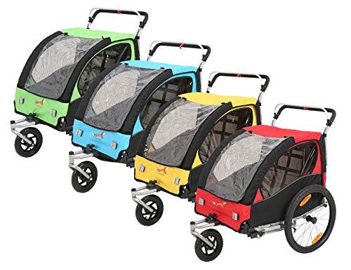 Fiximaster Fahrradanhänger Kinderwagen 2 in 1 für ein oder zwei Baby Kinder mit Griffbremse und Radschutz BT502 rot