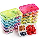 Meal Prep Containers 3 Compartment Food Storage Containers Microwave Dishwasher Freezer Safe (Color mixing, 10 PACK (3compartment))