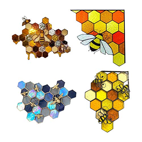 Queen & Bee schützen Honig Suncatcher 4PCS Bee Aufkleber Queen Bee schützen Honey Suncatcher Fenster Wandaufkleber Farbe Bienenstock Aufkleber 3D Honey Bee Mosaic Handmade Home Decoration Wandkunst