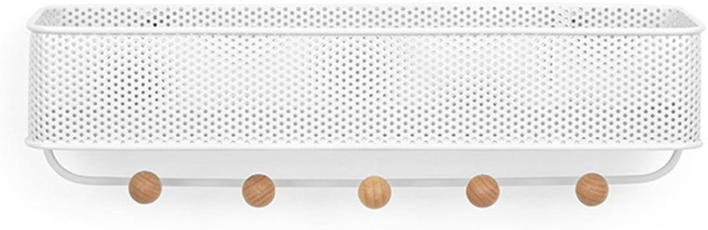 ZEMIN Wall Coat Rack Clothes Hat Hanger Holder Hooks Durable Basket Steel Fashion Style, White, 31.8x9.5x9.5CM ( color   White )