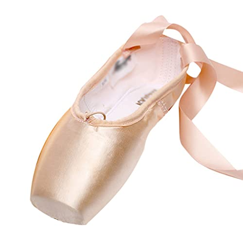 c03a9c8b2a1c LINNUO Ballet Pointe Shoes Satin Ballet Shoes for Girls with Toe Pads Ballet  Ribbon and Pointe