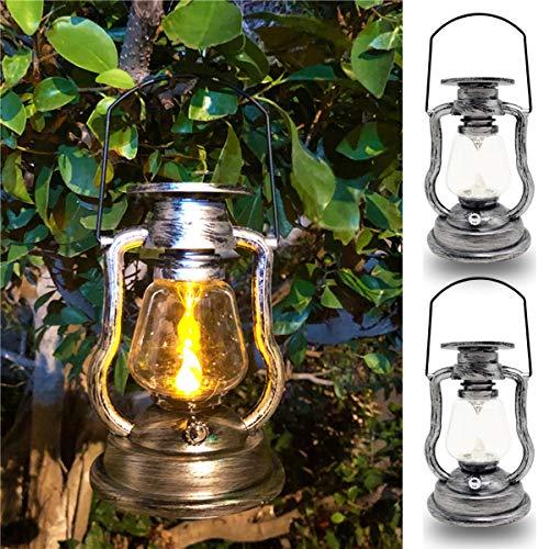 FEIJUN 2 Piezas De Linterna Solar para Colgar Al Aire Libre - Lámparas De Mesa De Jardín LED Metal Impermeable Bombillas LED Blancas Cálidas Luces Solares Colgantes Lámpara Solar Vintage(Color:Plata)