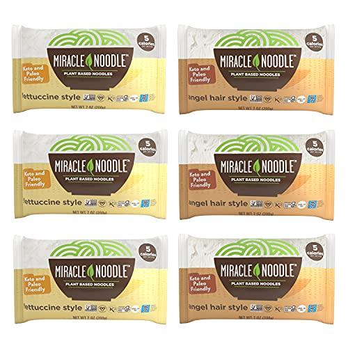 Miracle Noodle Fettuccini & Angel Hair Pasta Variety Pack - Plant Based Shirataki Noodles, Keto, Vegan, Gluten-Free, Low Carb, Paleo, Kosher, Zero Calories, Soy Free, Non-GMO - 7 oz (Pack of 6)