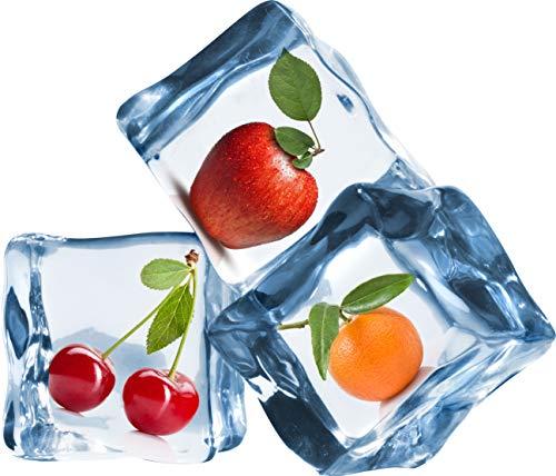 wandmotiv24 Wandsticker Obst in Eiswürfeln, Eis, Kalt, Apfel M - mittel 68x58cm Wand-Aufkleber, Sticker, Wand-bild, Deko Bilder, Dekoration Wohnung modern WS00000213