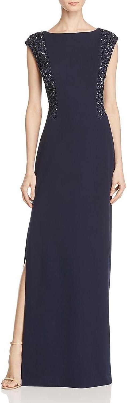Aidan Mattox Womens Matte Jersey Sequined Evening Dress