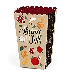 Rosh Hashanah popcorn box for holding treats as gifts or in care packages.