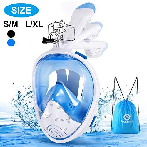 E-MANIS Tauchmaske Anti-Fogging Wasserdicht CO2 Easybreath Schnorchelmaske Maske Vollmaske 180° Sichtfeld Vollgesichtsmaske Faltbare mit Kamerahaltung für Erwachsene und Kinder S/M - Weißblau
