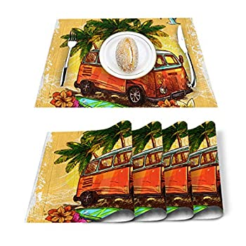 Anzona Cotton Linen Placemats Set of 4 Centerpiece for Dining Table Washable Placemat Summer Surfboard Non-Slip Heat Resistant Kitchen Table Mats Easy to Clean Palm Tree Bus on Wooden Board