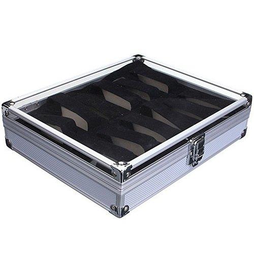 HuhuswwBin Watch Box, Caso de Aluminio de la Caja de Almacenamiento de la exposición del Soporte de los Relojes Los Joyas de Las Ranuras de Rejilla 6/12