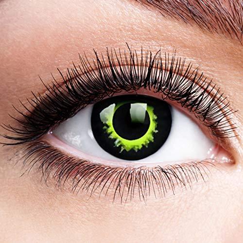 Farbige Kontaktlinsen ohne Stärke Green Eclipse Grün Devil Motiv Linsen Halloween Karneval Fasching Cosplay Anime Manga Rand Grüne Augen Green Eye Hexe Hulk Werewolf
