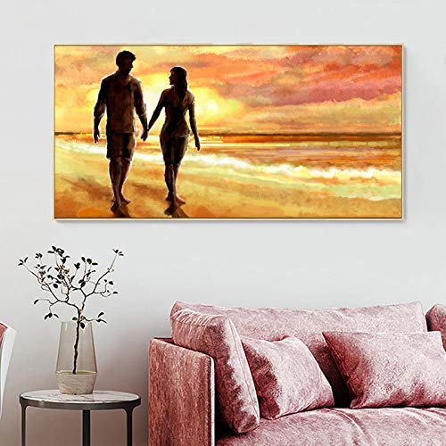 Domrx Abstract Lover Walk in Shores Landscape Poster Print Wall Art Canvas Painting Wall Pictures for Living Room Home Decor-60x120cm No Frame