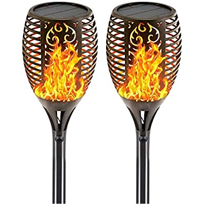 Iyoyo 4 Pack Solar Torch Light [3 Lighting Mode ] Waterproof 96 LED Flame Flickering Lamp Auto On/Off Dusk to Dawn Outdoor Solar Powered Landscape Decoration Dancing Flame Lights for Garden Yard Lawn