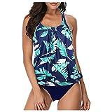 Bikini para mujer con control del vientre y pantalones cortos de 2 piezas, espalda desnuda con tirantes acolchados azul L