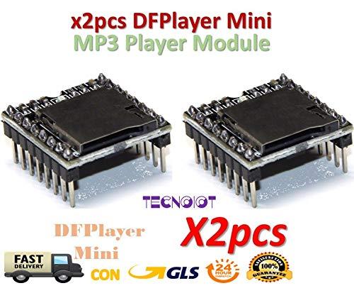 2pcs DFPlayer Mini MP3 Player Module MP3 Voice Module TF Card and USB Disk |2 Unidades DFPlayer Mini Reproductor de MP3 Módulo MP3 Módulo de Voz Tarjeta TF y Disco USB