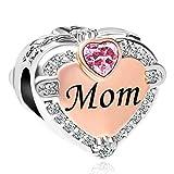 CharmSStory Rose Gold Mom Heart Love Charm Bead for Bracelets (October)