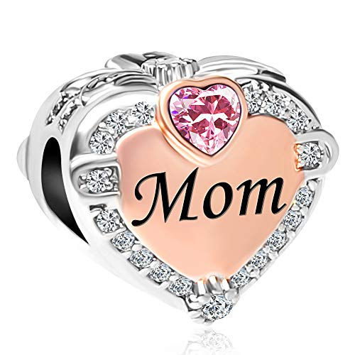 CharmSStory Rose Gold Mom Heart Love Charm Bead for Bracelets (October)