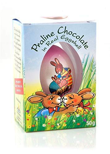 Gut Springenheide Guscio d'Uovo Naturale con Cioccolato alle Nocciole Disegni Rosa - 1 x 50 Grammi