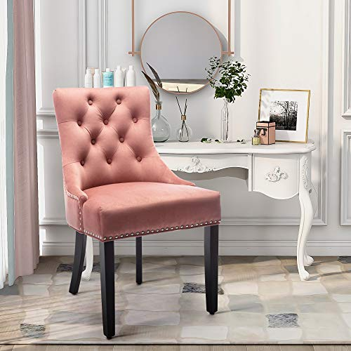 Fabric Studded Dining Chair with Arms Knocker Velvet Upholstered Occasional Chairs Side Chairs with Armrest for Accent Restaurant Bedroom Living Room 1 PC (Pink)