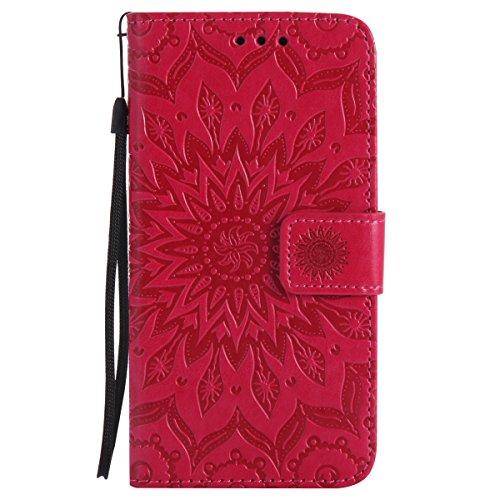 Ysimee Coque LG Nexus 5X, Étui Portefeuille Magnétique en Cuir Fleur en Relief Folio Housse Con Antichoc TPU Bumper Poche de Cartes Fonction Support Coque à Rabat pour LG Nexus 5X,Rouge