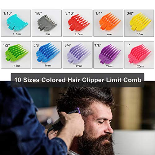 """Product Image 2: 10 Professional Hair Clipper Guards. Color Coded Guides/Combs- 1/16"""" to 1"""" – Compatible with Most Size Wahl Clippers"""