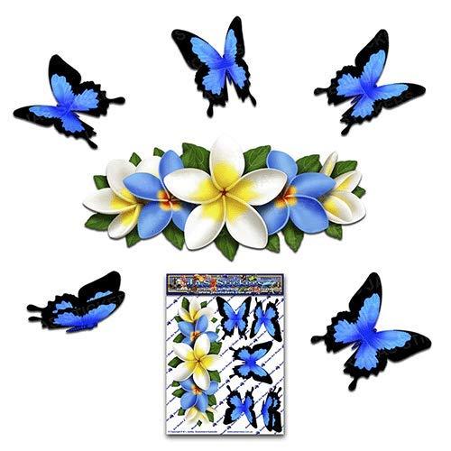 Flor azul Frangipani Plumeria centro pequeño + mariposa animal coche etiqueta engomada...