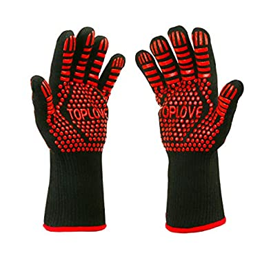 BBQ Grill Gloves [1472℉ NEWEST] EN407/EN420 CE Heat Resistant - Oven Silicone Glove Fireproof for Smoker Baking - High-temp Barbecue Grilling Potholders - Heat-insulated Cooking Mitt, X-Long (Red)