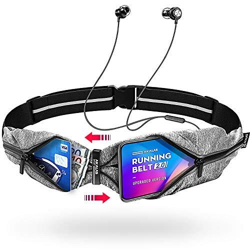 Akalas Ultraleicht Laufgürtel, Wasserabweisende Sport Hüfttasche, Verstellbare Taschengröße Handytasche, 360-Grad Reflektierende Bauchtasche für Joggen, Fitness, Radfahren und Reisen