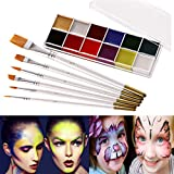 HASTHIP® Face Body Paint Oil 12 Colors, Face Painting Kits, Professional Painting Halloween Art Party Fancy Make Up Set with 6 Brushes, Hypoallergenic Non-Toxic Oil Body Paint Kits for Adults Kids