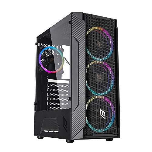 Noua Demon T4 Black Case ATX PC Gaming 0,50 mm SPCC 4 ventiladores Dual Halo RGB Rainbow Addressable 5V Frontal Mesh Efecto fibra de carbono Panel lateral de vidrio templado (AxPxL: 440x384x192 mm)