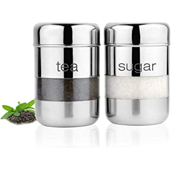 Dibha Stainless Steel Tea Sugar Box Set of 2