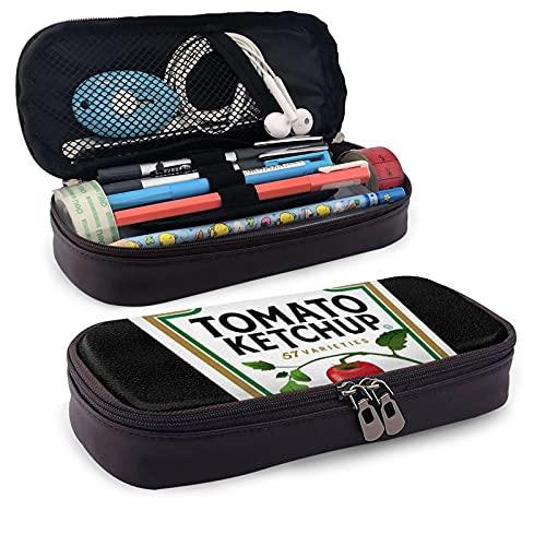 Estuche multifunción para lápices de piel Heinz Tomate Ketchup Pen Pouch Bolsa de papelería Oficina Kit de almacenamiento portátil Portacosméticos