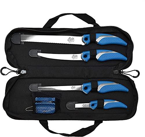 Cuda Knife and Sharpener Set (6 Piece), Blue/Black