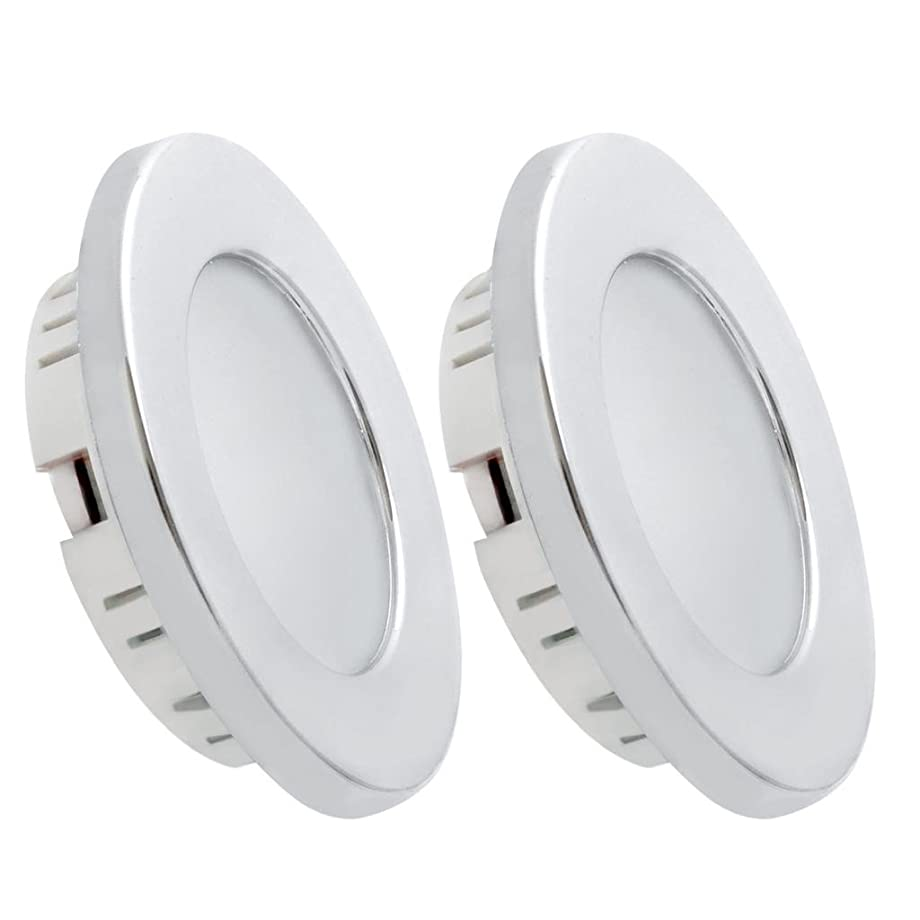 Dream Lighting 12volt LED Recessed Downlight for RV Motorhome Trailer Boat Cabin Compartment Stateroom Interior Ceiling Lighting-Dimmable Warm White, Silver Housing, Pack of 2