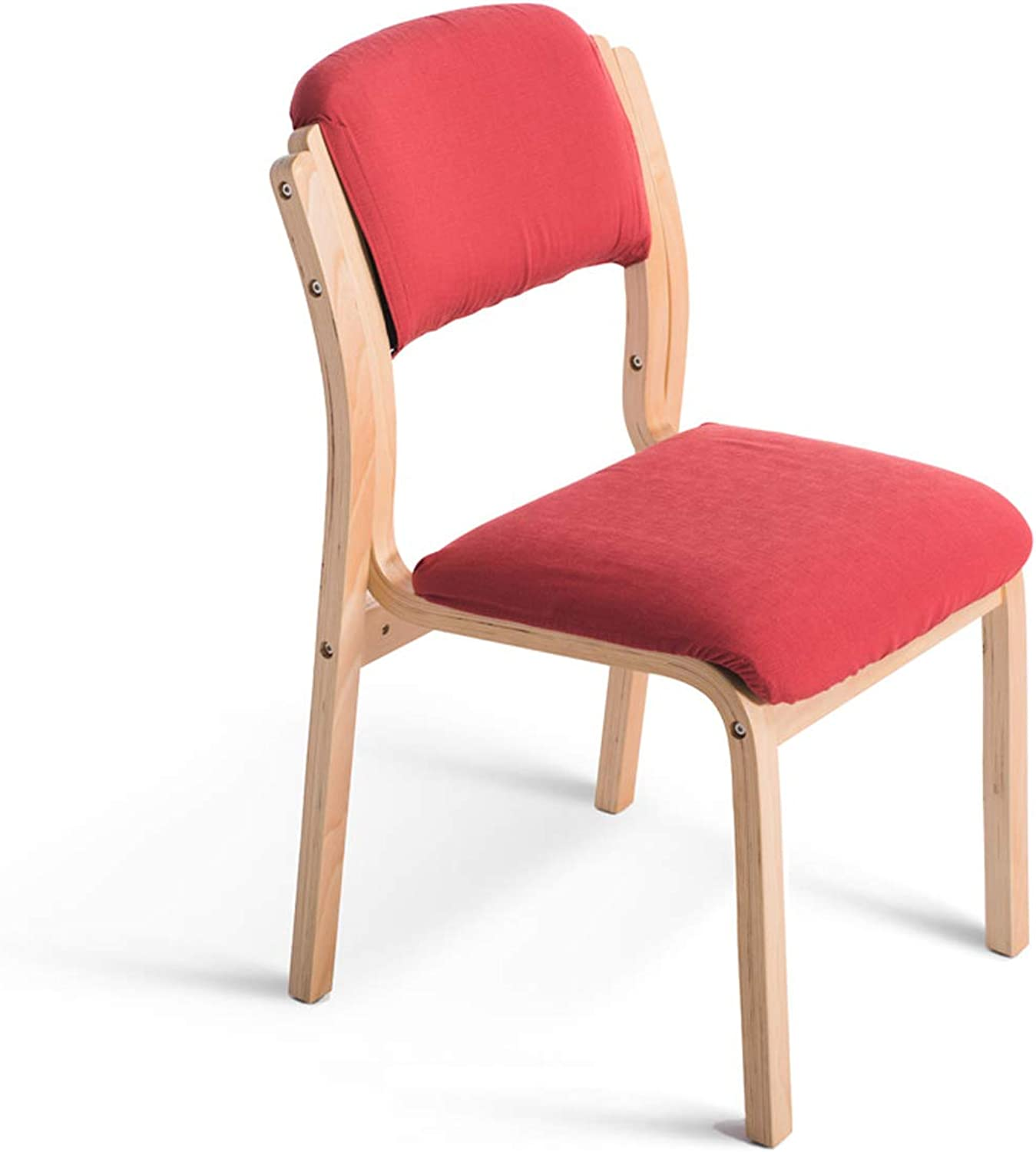 HLQW Solid Wood Dining Chair Cloth Art Cafe Dining Chair Simple Hotel Nordic Soft Bag Chair Backrest European Desk Chair, Red