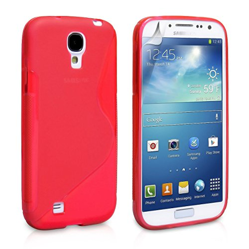 samsung galaxy s4 cases Cable and Case Slim Rugged Shock Absorbent Soft Jelly Shell Case for Samsung Galaxy S4 - Red