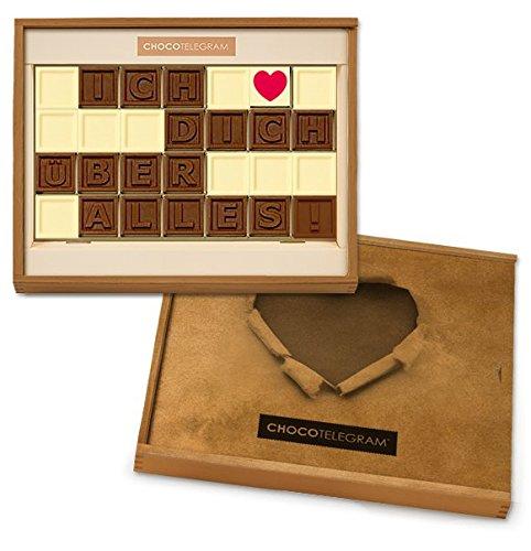 ICH LIEBE DICH ÜBER ALLES - Schokoladenbotschaft | Schokolade | Holzschachtel mit Herzaufdruck | Liebesgeschenk | Valentinstag | Frau | Mann | Weihnachten | Freundin | Freund | Schoko