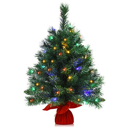 26' Pre-Lit Tabletop Artificial Fir Christmas Tree Battery Powered 8 Flash Modes