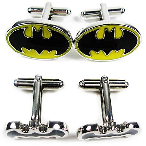 kilofly Manschettenknöpfe, 2 Paar im Set, 2 verschiedene Batman-Designs, in Samt-Geschenkschachtel