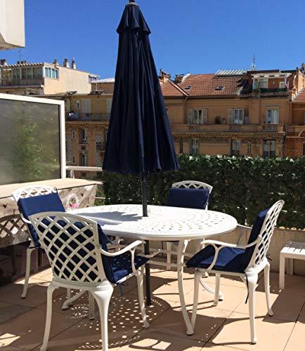 Lazy Susan - Table Ovale 150 x 95 cm June et 4 chaises de Jardin - Salon de Jardin en Aluminium moulé, Blanc (chaises Emma)