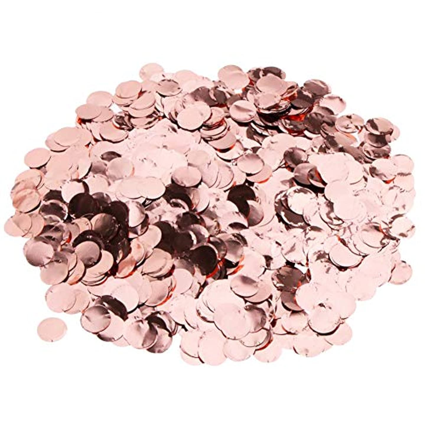 5 Packs Pop Rose Gold Confetti, Round Sequins Table Flower Balloon Classroom Table Party Decorations Confetti Sprinkle, for Wedding Holiday Anniversary Birthday, 1 Inch
