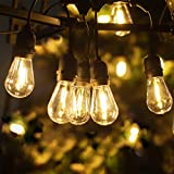 LUKASUMI LED Outdoor String Patio Lights, 52FT Commercial Grade Waterproof Plastics Edison Vintage Bulbs, Hanging Strand for Garden Porch Backyard Deck Yard, Christmas Wedding Party Decor