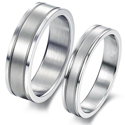 ILOVE EU Conjunto de 2 alianzas de acero inoxidable en plata mate,...