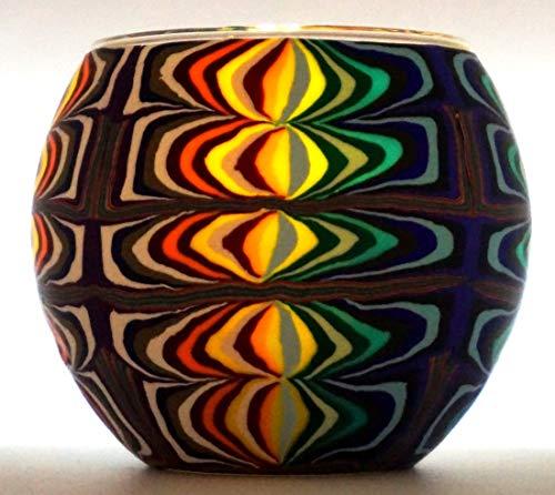 CBK-MS. Windlicht Teelicht Fantasy Leuchtglas Teelichthalter ca. Ø 11 cm Höhe 8,5 cm buntes farbiges Muster