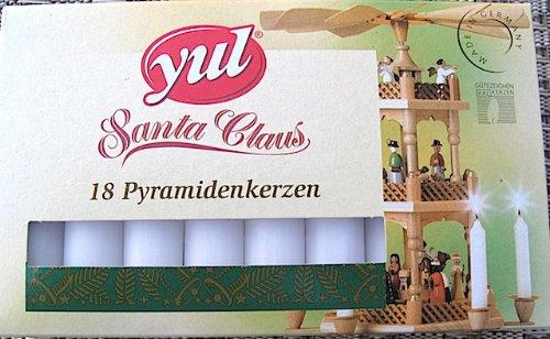Yul Santa Claus 18 Stück Pyramidenkerzen weiß