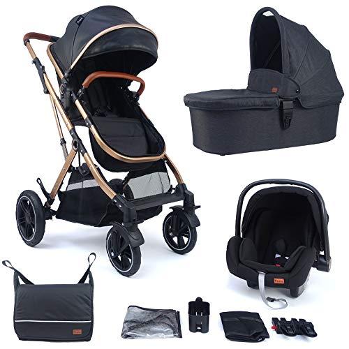 Pixini Cochecito Lania 3 en 1 muy compacto plegable, incluye capazo, cochecito y asiento de coche – Marco de aluminio – Bolso cambiador / funda de lluvia en dorado/negro