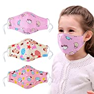 Dust Mask for Kids,Aniwon 3 Pcs PM2.5 Kids Mouth Face Mask with 6 Pcs Activated Carbon Filter Insert,Washable Cute Cotton Mouth Mask with Adjustable Straps (Pink)