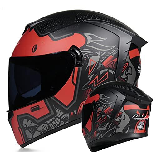 Casco Moto Integral Ligero Con Visera Transparente/Tintada Homologado DOT/ECE Cascos De Moto Para Hombre Y Mujer Casco Todoterreno Para Jóvenes Black Lens,S